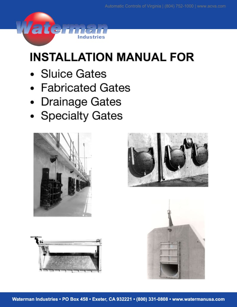 Installation Manual for Waterman Gate Valves
