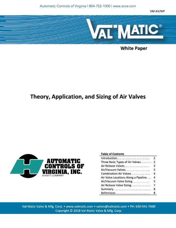 Theory, Application, and Sizing of Air Valves